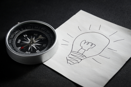 Compass and idea paper,innovation  concept.