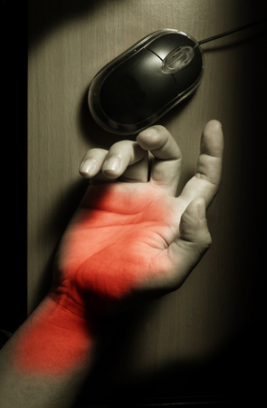 stiffness: Trigger Finger or Carpal Tunnel syndrome,health problem. Stock Photo