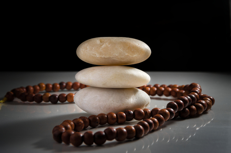 stack stones: Stack stones zen like with necklace Stock Photo