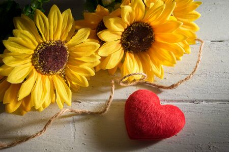 Still: Red heart with sun flowers,still life. Stock Photo
