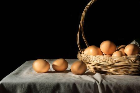 Still life eggs in basket,food ingredient.