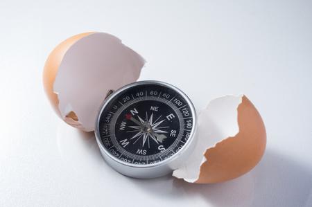 Compass with broken egg shell,concept idea.