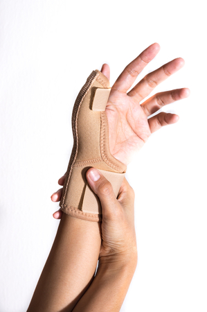 pinched: Woman with Hand-support,health concept.