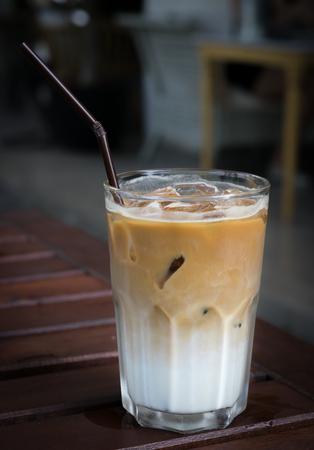 Ice coffee latte on table.