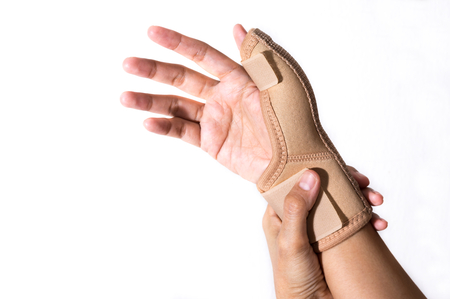 pinched: Woman with Hand-support,health care. Stock Photo
