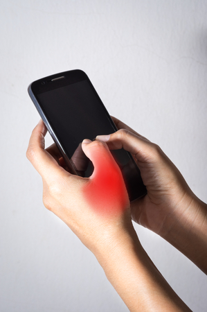 Finger pain with using mobile phone.