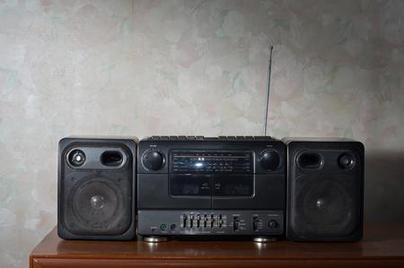 Black Radio tape on table,still life. Banco de Imagens
