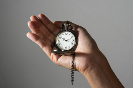 Pocket watch in woman hand.