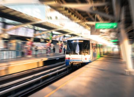 Motion blur filtered, metro sky train or subway. Stock Photo