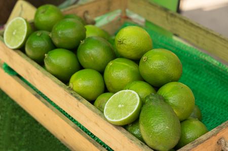 Lime citrus fruits on market place.