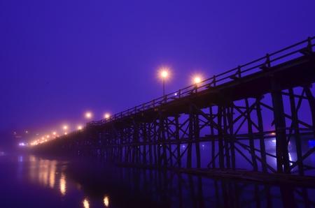 longest: Longest wooden bridge in Thailand Stock Photo