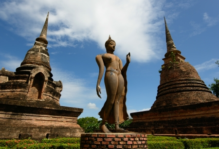 stupas: Sukhothai historical park, the old town of Thailand in 800 year