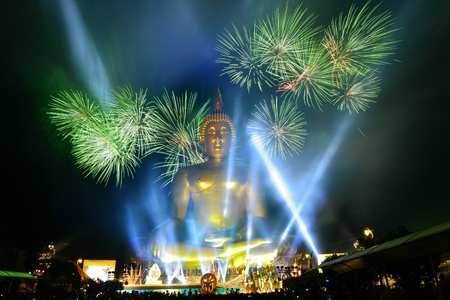 Firework and buddha photo
