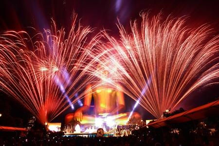Firework and buddha photo