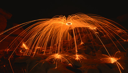 firestarter: play fire shows at sam phan bok in  thailand.