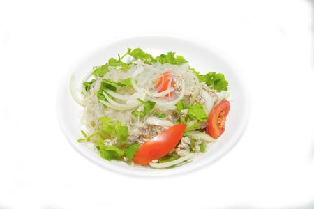 sain: Glass Noodle, Pork & Nut Spicy Salad ( Yum Woon Sain ) Stock Photo
