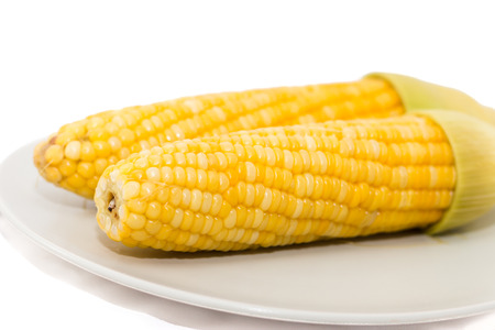 Corn on white background selective foucs