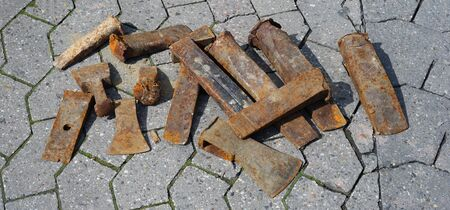 wedge: Rusty wedge tools from quarry factory Stock Photo