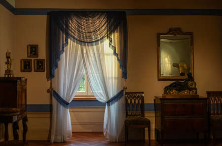 Biedermeier room antique tastefully furnished with furniture from the 19th century.