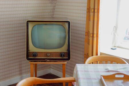 nostalgic: Old tv in a small nostalgic room Editorial