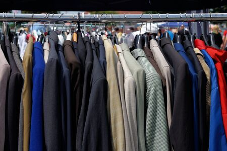 used clothes: Used and already worn clothes at a flea market
