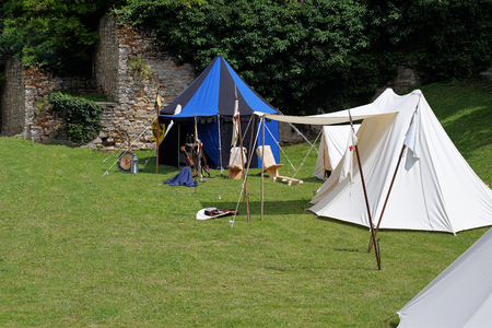 staging: Medieval campsite for tournament participants at Knights game event