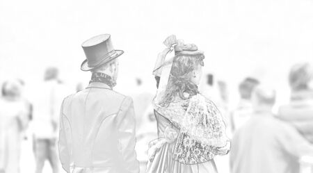 clothed: Couple in clothes of the 19th century. It seems like time travelers, as all others are clothed latter day. Art work. Stock Photo