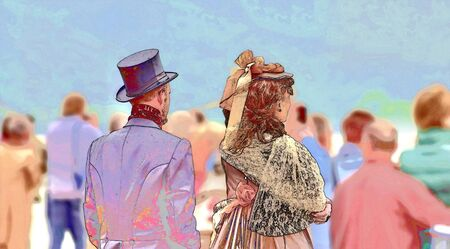exclusively: Couple in clothes of the 19th century. It seems like time travelers, as all others are clothed latter day. Art work. Stock Photo