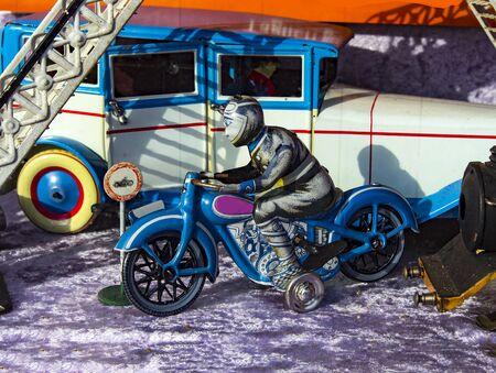 Motorcyclist Biker tin toy for children