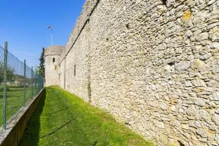 A village with a completely preserved wall from the Middle Ages which still leads around the entire village. Stock Photo