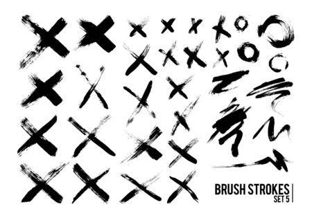 grunge cross: Brush Strokes Set 5
