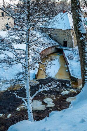 hydro power: frozen hydro power plant Keila-Joa, Estonia at cold winter Stock Photo