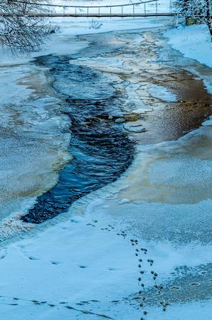 frozen river: frozen river Keila, Estonia at cold winter