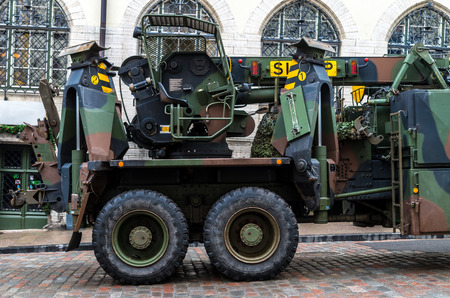 armored truck: TALLINN, ESTONIA - FEBRUARY 24, 2016: Celebrating of Day of Independence and the Defence Forces parade on Freedom Square in Tallinn, Estonia Editorial