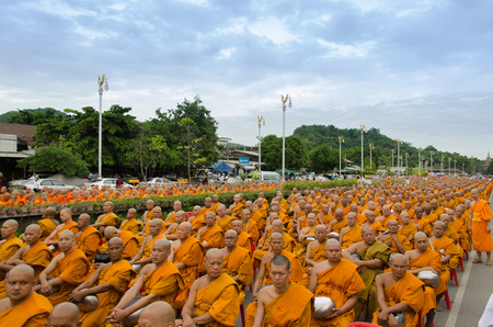 Buddhist monks waiting for pray