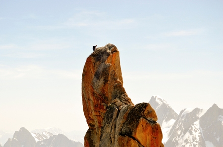 blanc: Climbing in Mont Blanc Stock Photo