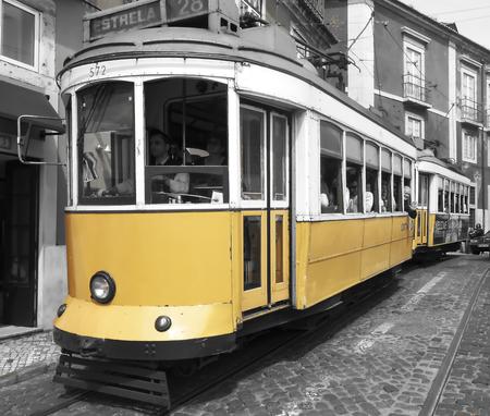 tramway: classic tramway lisbon city Portugal