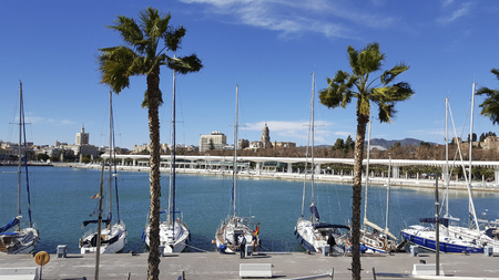 Puerto Muelle Uno Port of malaga city costa del sol With cathedral in background