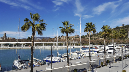 Muelle uno Port of malaga city costa del sol with cathedral in background Stock Photo
