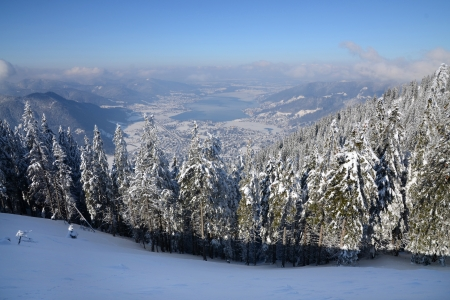 View at a bavarian lake from a mountaintop in winter