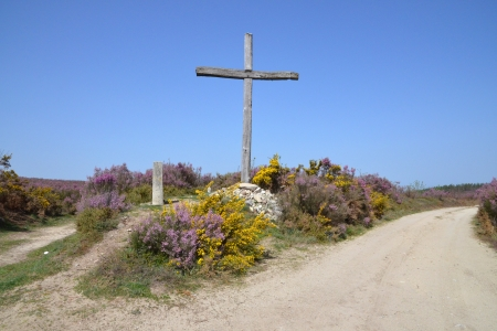 Cross standing between two roads, you have to decide with God s help which way to go