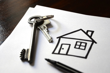 Drawing of the newly bought home with house keys Stock Photo - 21169774