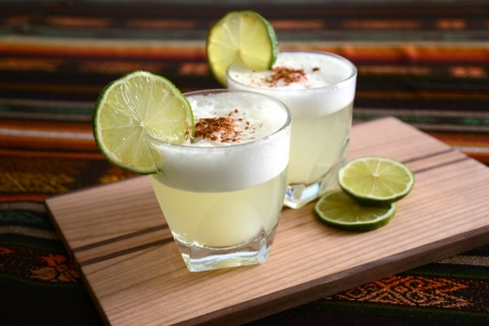 Cocktail from Chile and Peru  Pisco Sour Stock Photo