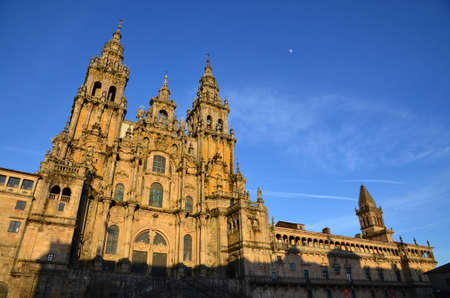 camino: Cathedral of Santiago de Compostela in Galicia, Spain  It is the end point of the Way of St James, Camino the Santiago