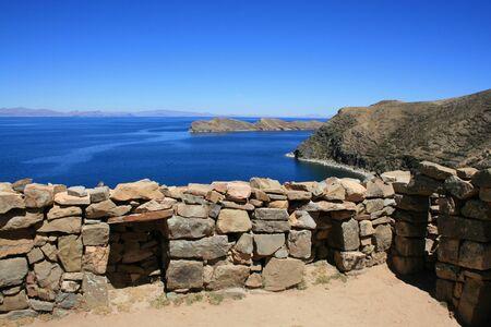 Ruin on the shore of Lake Titicaca in Bolivia