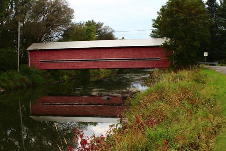 quebec: Decelles Covered Bridge in Brigham, Quebec Stock Photo