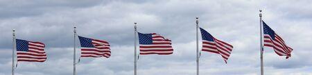 Five US flags waving Zdjęcie Seryjne