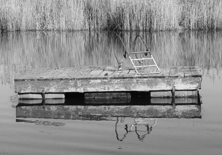 Weathered swimming platform