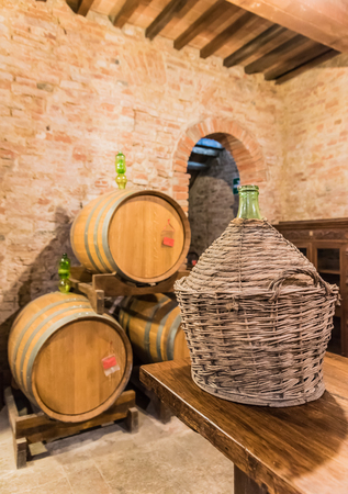 montepulciano: The barrel containing the red Montepulciano wine noble in Siena, Tuscany Stock Photo