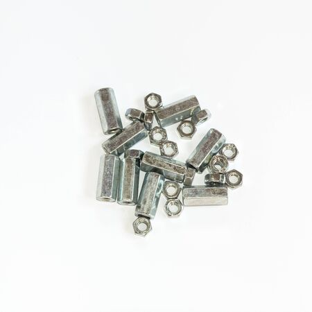 fitter: Close-up of various steel nuts and bolts Stock Photo